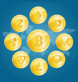 realistic 3d detailed crypto coins set vector image vector image