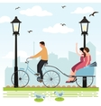 riding rickshaw in town tourist enjoy city scene vector image