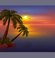 romantic sunset on tropical island palm trees vector image vector image