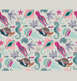 seamless pattern with fish and sea animals vector image