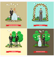 set of wedding ceremony posters in flat vector image vector image
