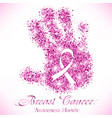 shape of pink hand from glitter with ribbon inside vector image vector image