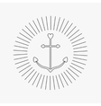Ship anchor in shapes of heart Round thin line vector image vector image