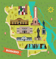 sightseeing landmarks map rosario in argentina vector image