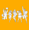 sketch young teen students jumping set vector image vector image