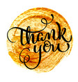 thank you vintage text on round gold vector image vector image