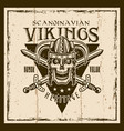vikings brown emblem with warrior skull vector image