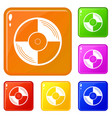 vinyl record icons set color vector image vector image