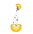 Water with Flower Corolla in Bowl for Songkran vector image vector image