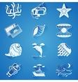 White underwater icons vector image