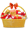 Wicker Basket with Gifts vector image vector image