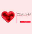 world blood donor day card june 14 awareness vector image vector image