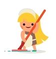 Little Independent Housewife Happy Girl Wash Floor vector image