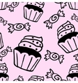 Cupcakes sweets seamless doodle pattern vector image