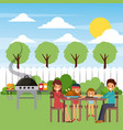 family eating dinner in the garden with grill hot vector image