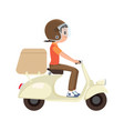 a girl riding a delivery scooter vector image vector image