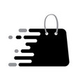 abstrack black logo shopping bag icon with plack vector image