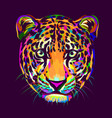 abstract multi-colored portrait a jaguar looki vector image