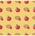 apple pie on red pattern background sweet and vector image vector image