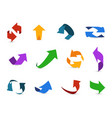 arrow 3d set colorful arrows symbols economy info vector image