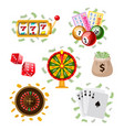 big set of flat style casino gambling symbols vector image vector image
