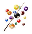 billiard balls and cue 3d realistic vector image vector image