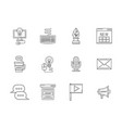 blogging flat line icons set vector image