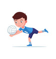 boy volleyball player plays with ball vector image vector image