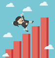 business woman falling down graphic chart vector image vector image