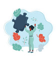 business woman holding a big puzzle piece vector image vector image