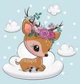 cartoon baby deer is lying on cloud