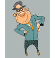 Cartoon cheerful man in a suit and tie standing vector image vector image