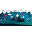 cartoon paper landscape mountain flower cloud vector image vector image
