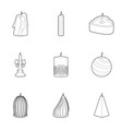 christmas candle icons set outline style vector image vector image