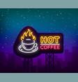 coffee neon signboard logo glowing emblem vector image vector image