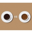 coffee vs versus tea compare health and benefit vector image vector image