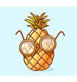 Colorful nerd pineapple with glasses on b vector image