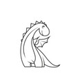 coloring book cute little dragon vector image vector image