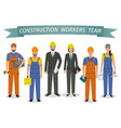 construction workers team employment and labor vector image vector image
