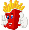 cool french fries in red paper box thumb up smile vector image vector image