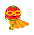 cute cartoon smiling tomato superhero in mask and vector image vector image
