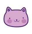 cute cat face happy cartoon design vector image