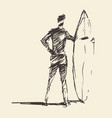 drawn young man beach surfboard sketch vector image vector image