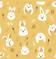 easter seamless pattern with cute smiling rabbits vector image vector image