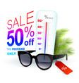 eyewear discount banner concept with thermometer vector image