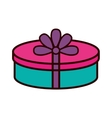 gift box ribbon purple bow round vector image