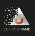 golden letter u logo in silver pixel triangle vector image vector image
