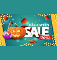 halloween sale up to 50 off green discount banner vector image