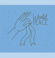 hand human with ribbon world peace vector image vector image