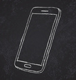 Handdrawn sketch of mobile phone outlined on vector image vector image